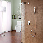 Contemporary Shower Faucet with 8 inch Shower head + Hand Shower At FaucetsDeal.com