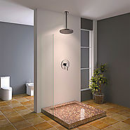 Contemporary Rain Shower Brass Chrome Wall Mounted Shower Faucet At FaucetsDeal.com
