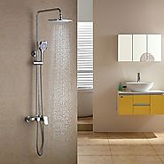 Contemporary Rain Shower Handshower Included Brass Chrome Shower Faucet At FaucetsDeal.com