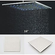 Rainfall Shower Head With 3 Colors LED Temperature Sensitive Light At FaucetsDeal.com