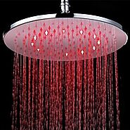 12 inch Brass Shower Head with Color Changing LED Light Shower Head At FaucetsDeal.com