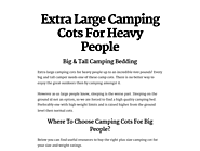Extra Large Camping Cots For Heavy People