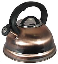 Alpine Copper Finish Encapsulated Base 18/10 Stainless Steel Whistling Tea Kettle Pot