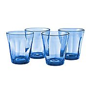 Magazine of cobalt blue drinking glasses