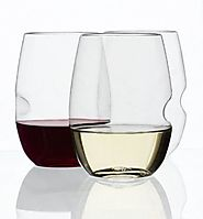 Shatterproof Stemless Wine Glasses - with Thumb Indent