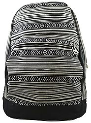 Fashion Girls Women's Aztec Tribal Print Casual Woven Canvas Backpack School Travel Bag (Black) - Backpacks n BagsBac...