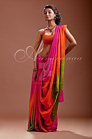 Buy Pure Crepe Designer Silk Sarees Online in India