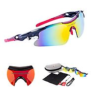 RIVBOS 802 Polarized Sports Sunglasses with 5 Set Interchangeable Lenses for Cycling