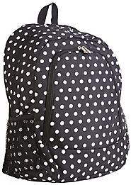 Black & White Polka Dot Print Backpack Bag - Backpacks n BagsBackpacks n Bags