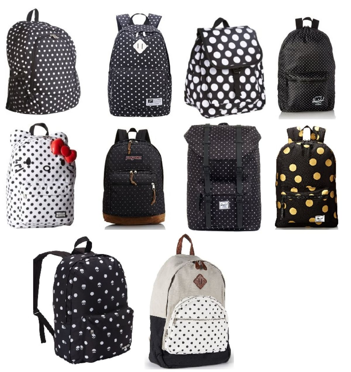 Headline for Best Black and White Polka Dot Backpacks for School and College