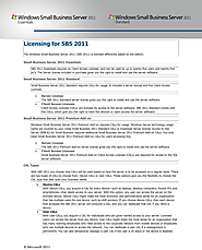 Pricing and Licensing for SBS 2011
