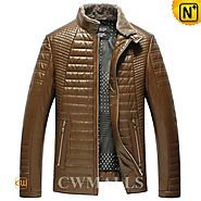 Mens Tan Quilted Down Jacket CW846055 - cwmalls.com