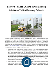 Factors to Keep in Mind While Seeking Admission to Best Nursery Schools