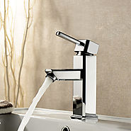 Chrome Finish Solid Brass Bathroom Sink Faucet At FaucetsDeal.com