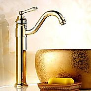 Ti-PVD Finish Solid Brass Single Handle Centerset Bathroom Sink Faucet At FaucetsDeal.com