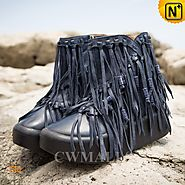 Womens Leather Ankle Fringed Boots CW305575