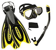 Cressi Frog Plus Fins with Dive Mask Dry Snorke Set, (Scuba Snorkeling Freediving Spearfishing Dive Gear)