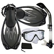 PROMATE Snorkeling Scuba Dive Panoramic PURGE Mask Dry Snorkel Fins Gear Set