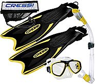 Cressi Palau Long Fins, Focus Mask, Dry Snorkel, Snorkeling Gear Package