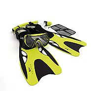 Aquadis Snorkeling Set with High-Quality Diving Mask, Dry Top Snorkel, and Open Foot Pocket Luxury Fins for Men and W...