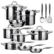 Duxtop Professional Stainless-steel 17-piece Induction Ready Cookware Set.