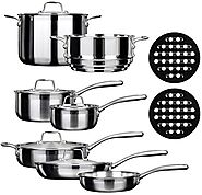 Duxtop Whole-Clad Tri-Ply Stainless Steel Induction Ready Premium Cookware Set