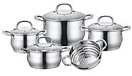 Concord 9 Piece Stainless Steel 5-Ply Bottom Cookware Set (Induction Compatible)