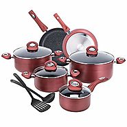CO-Z 12-PCS Cookware Set Teflon-Coated Nonstick Pots and Pans Set, Induction Compatible, with Bakelite Handle, FDA Ce...