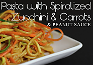 Spiral Zucchini Pasta with Carrots and Peanut Sauce Recipe