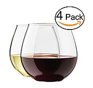 Stemless Wine Glass Set, 4-Pack, 15 Ounce Wine Tumbler Set, Shatter- Resistant High-Quality Glass