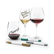 Wine Enthusiast 3-Pack Wine Glass Writer Metallic Pen