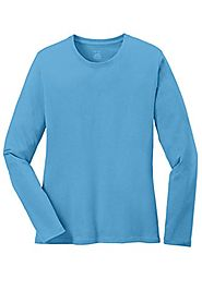 Ladies Long Sleeve 5.4-oz 100% Cotton T-Shirts in 16 Colors. XS-4XL