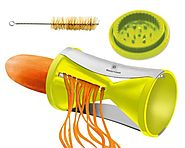 Brieftons Spiral Slicer: Stainless Steel Vegetable Spiralizer with Special Japanese Blades and 2 Julienne Sizes, Perf...