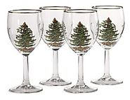 Spode Christmas Tree 13-Ounce Wine Goblets with Gold Rims, Set of 4: Wine Glasses: Wine Glasses