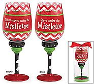 What Happens Under the Mistletoe Red Chevron Wine Glass 20oz Holiday Gift (1 Glass, Red)