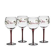 Pfaltzgraff Winterberry Harmony/Peace/Cheer/Joy Wine Glasses (Set of 4)