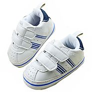Toddler Boy Fuax Leather Crib Shoes Soft Sole Velcro Sport Sneakers