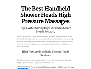 The Best Handheld Shower Heads High Pressure Massages