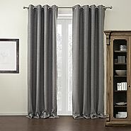"twopages Modern Grey Solid Grommet Top Blackout Curtain 42Wx84""L (One Panel) Multi Size Available Custom"