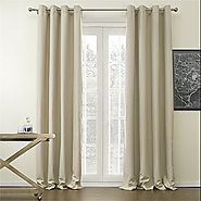 "IYUEGOU Classic Solid Polyester Room Darkening Grommet Top Curtain Draperies With Multi Size Custom 50"" W x 84"" L (On..."
