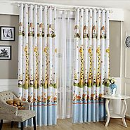 Hot cartoon giraffe pattern finished blackout curtains for kids children living room the bedroom window curtain panel...