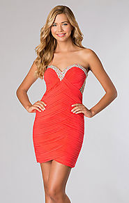 Jeweled JVN by Jovani 20569 Strapless Coral Open-Back Short Pleated Prom Dresses 2015 [JVN by Jovani 20569 Coral] - $...
