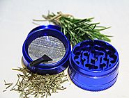 Herb Grinder, Spice and Tobacco Grinder - Blue Herb Grinder - 4 Piece Chamber with Pollen Catcher and Scraper. H &...