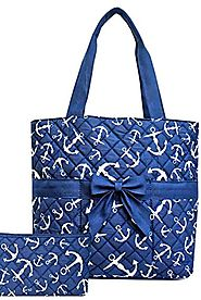 Anchor Nautical 3 Pc Diaper Tote Bag Set w/ Changing Pad Blue