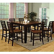 Bannock Acacia & Espresso Finish 5-Piece Counter Height Dining Table Set