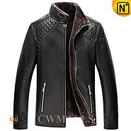 Glasgow Black Shearling Moto Jacket CW870135