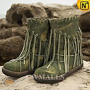 Leather Fringe Boots CW305570 - cwmalls.com