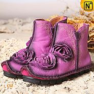 CWMALLS Handmade Leather Purple Boots CW350152