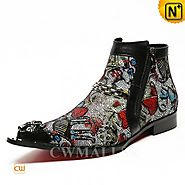 CWMALLS® Designer Printed Leather Boots CW707203