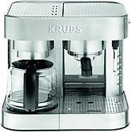 KRUPS XP6040 Die Cast Pump Espresso Machine and Coffee Maker Combination with Milk Frothing Nozzle, 10-Cup